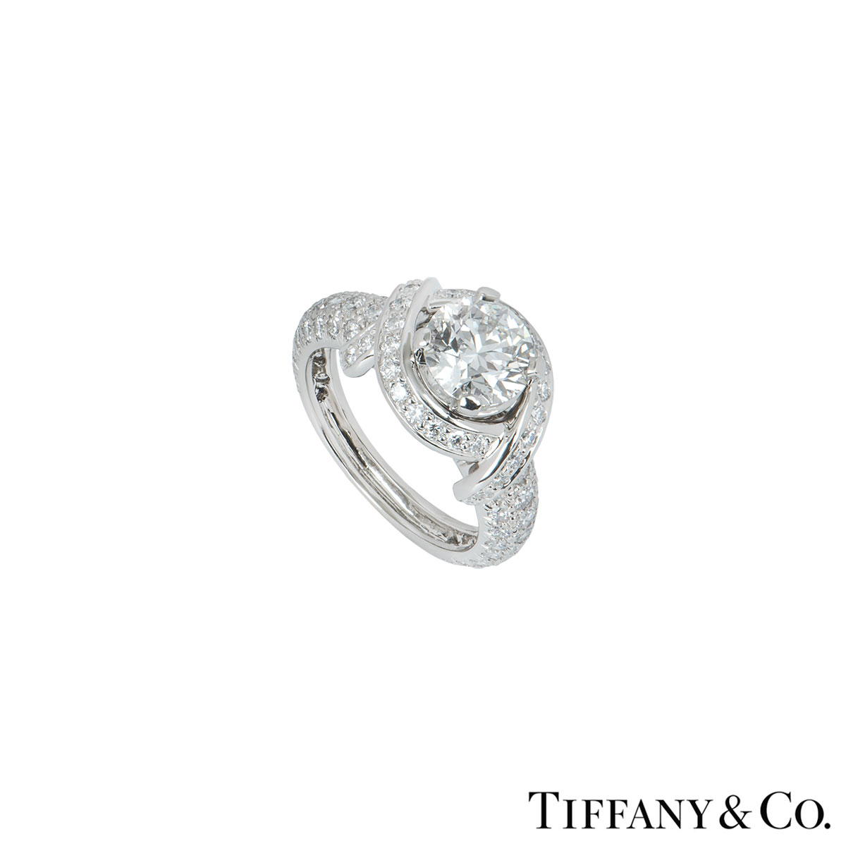 Tiffany & Co. Platinum Diamond Schlumberger Ring 1.55ct G/VVS2